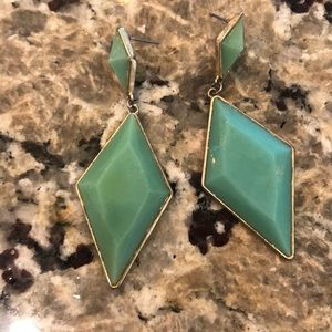 Large Mint Statement Turquoise Long Earrings